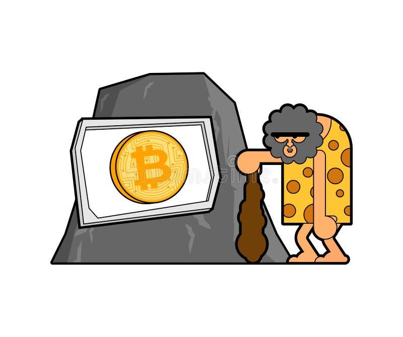 Caveman i bitcoin Prehistoryczny mężczyzna i cryptocurrency Antyczna mężczyzna myśl ilustracji