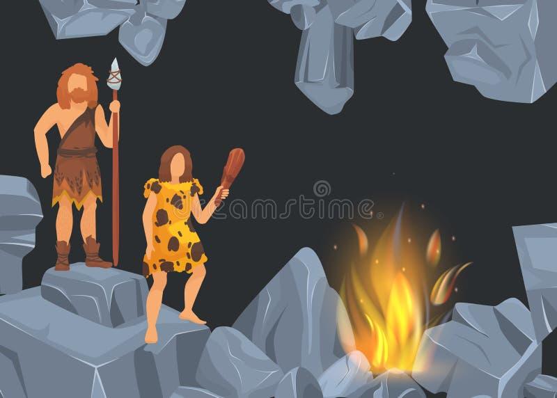 Caveman i kobieta w prehistorycznym okresie w rockowej jamie przed pożarniczym miejscem Sztandary z czarnym tłem dla twój teksta royalty ilustracja