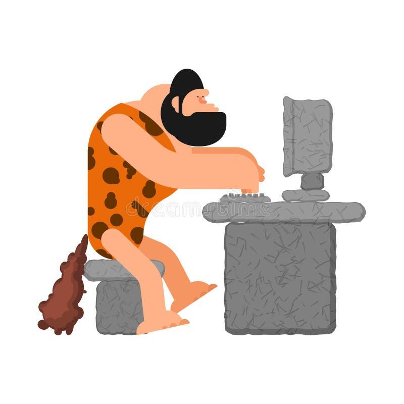 Caveman i komputer Prehistoryczny mężczyzna i pecet starożytny laptop royalty ilustracja
