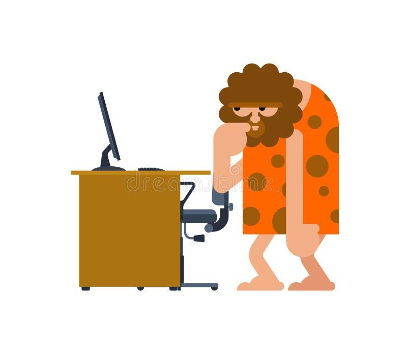 Caveman i pecet Prehistoryczny mężczyzna i komputer Antyczna mężczyzna myśl ilustracji