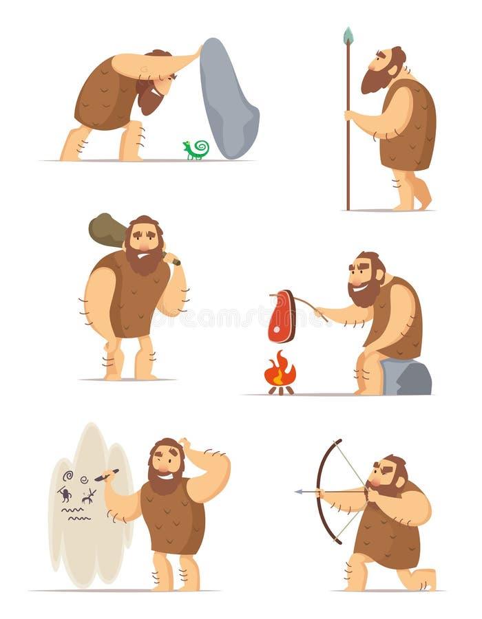 Caveman i różne akcj pozy ilustracji