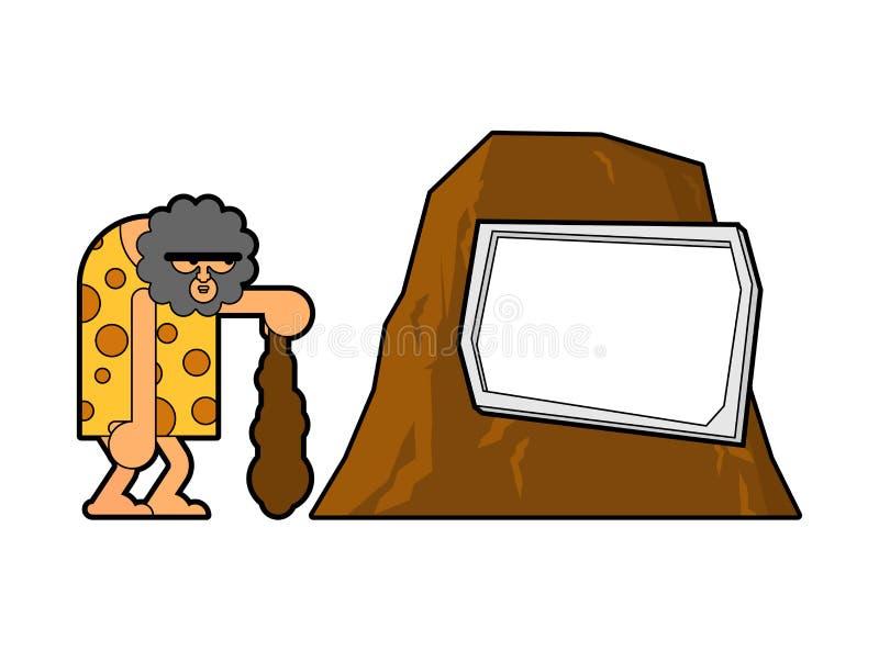 Caveman i skała Prehistoryczny mężczyzna i miejsce dla teksta Antyczny mężczyzna i góra ilustracja wektor