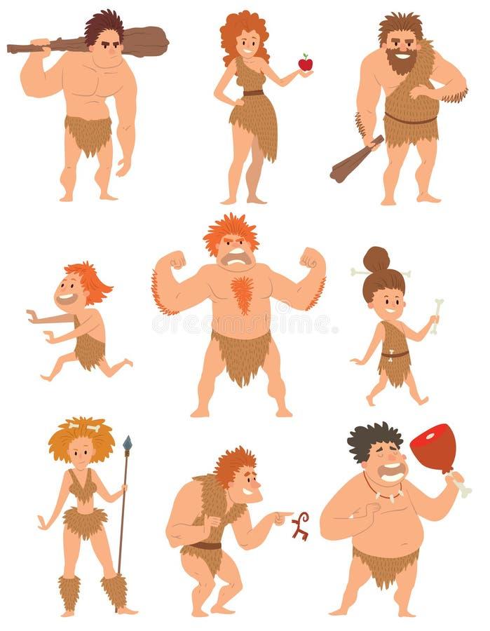 Caveman kreskówki akci neanderthal ewoluci wektoru pierwotni ludzie royalty ilustracja