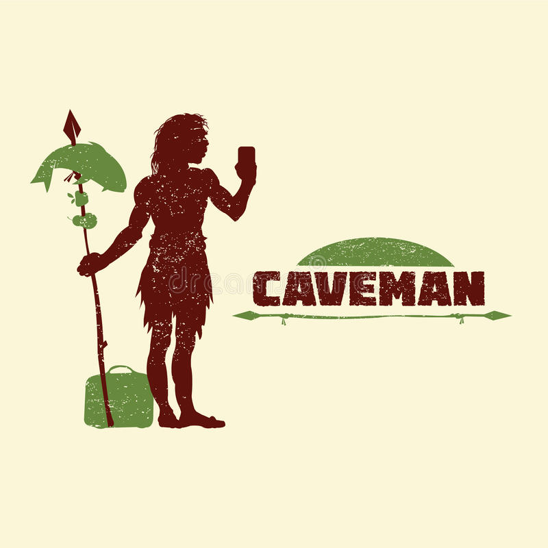 Caveman with mobile phone, bags and food royalty free illustration