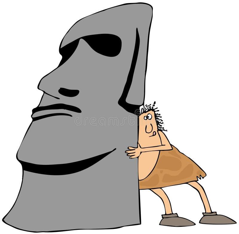 Caveman moving monolith royalty free illustration