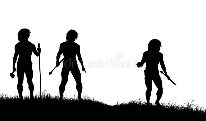 caveman myśliwi ilustracja wektor