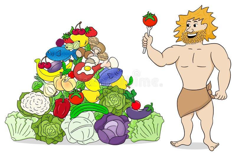 Caveman with paleo food pyramid stock illustration