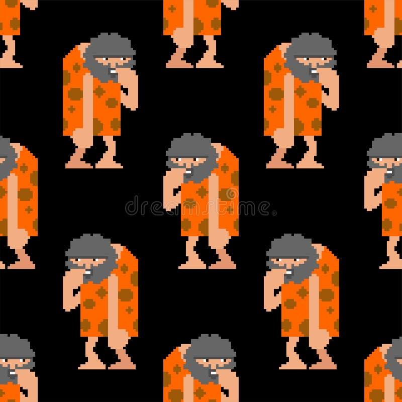 Caveman piksla sztuki wzór bezszwowy Prehistoryczny mężczyzny 8 kawałka tło Antyczna mężczyzny wektoru tekstura ilustracja wektor