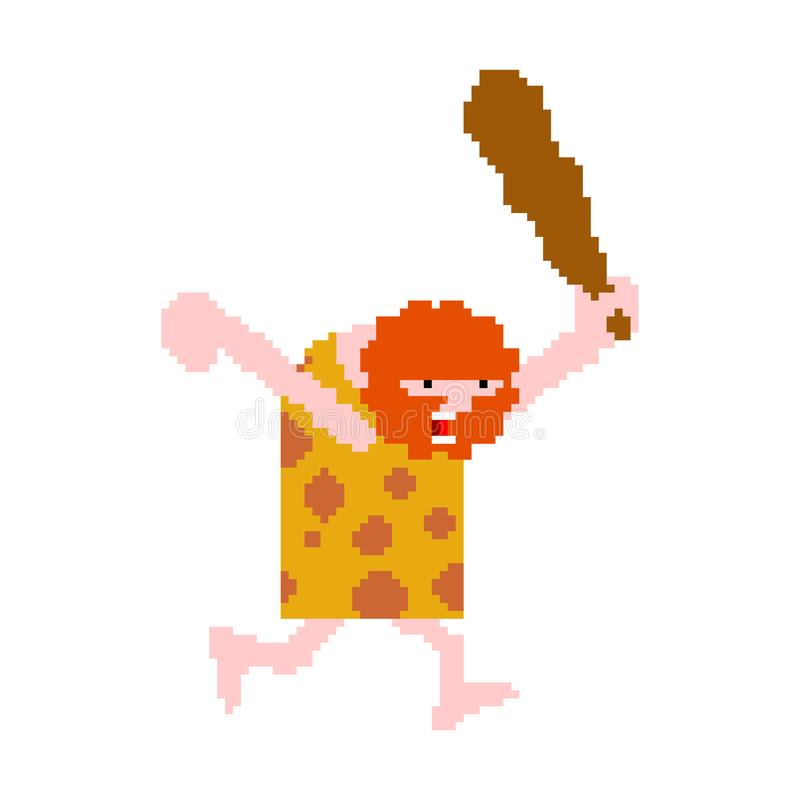Caveman pixel art isolated. Prehistoric man hunter 8 bit. Ancient man is hunting pixe stock illustration