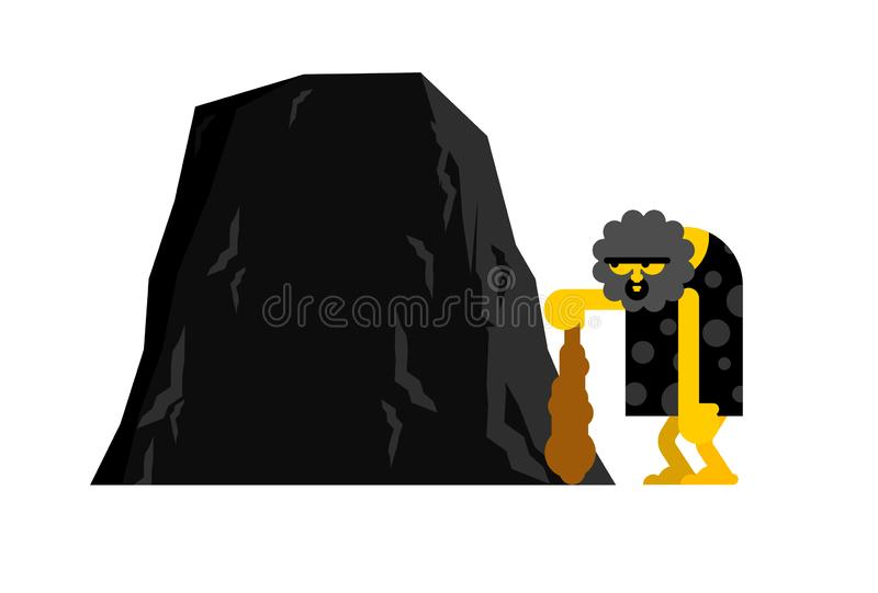 Caveman and rock. Prehistoric man and place for text. Ancient man and mountain stock illustration