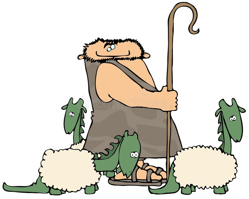 Caveman Shepherd stock illustration