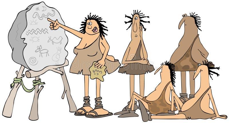 Caveman szkoła w sesi ilustracja wektor