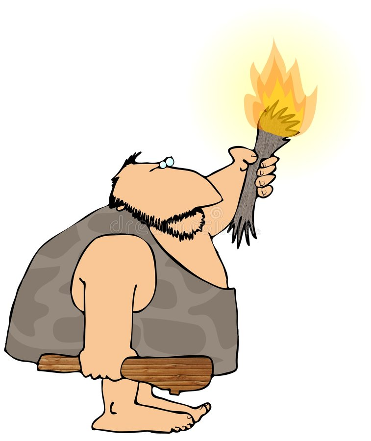 Download Caveman With A Torch stock illustration. Illustration of fire - 4451660