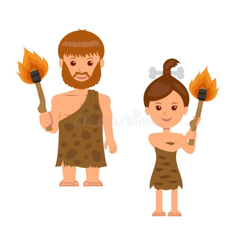 caveman Un uomo e una donna che tengono una torcia in sua mano Gente preistorica isolata dei caratteri con le torce illustrazione vettoriale