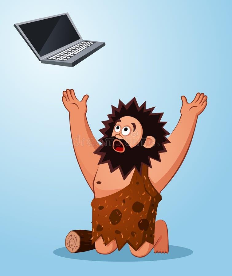 Caveman worshiping a laptop. Prehistoric age of caveman worshiping a laptop thinking its miraculous stuff stock illustration