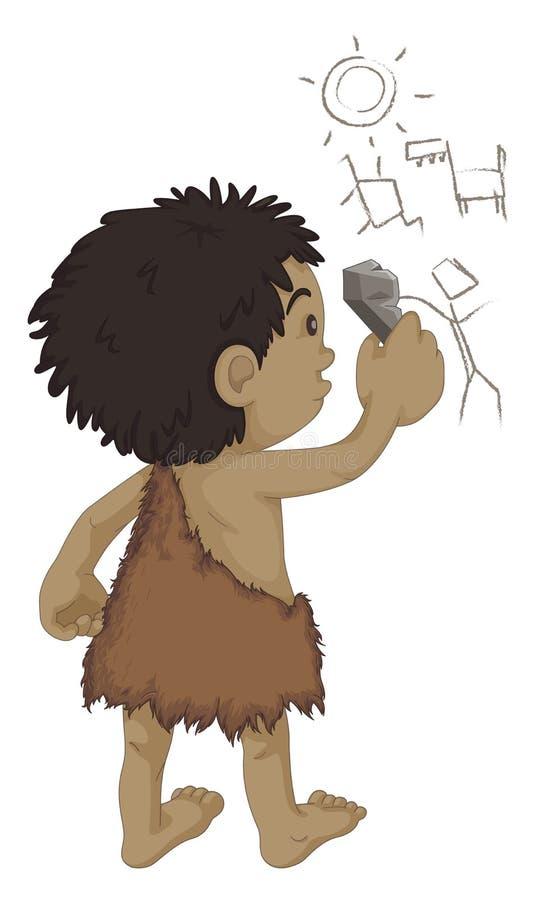 caveman writing royalty ilustracja