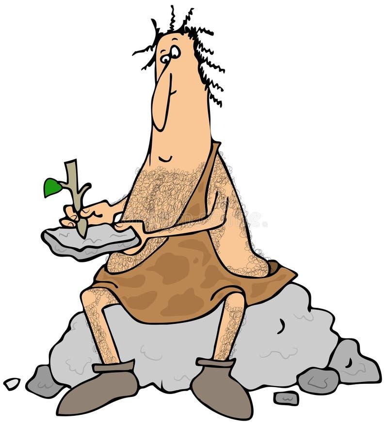 Caveman Stick : Caveman writing on a stone tablet stock illustration