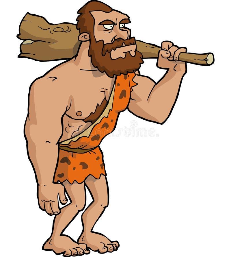 Caveman z klubem ilustracji