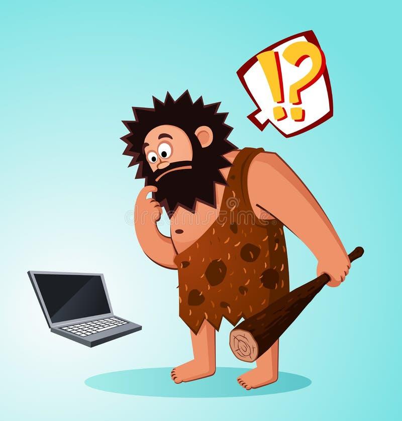 Caveman zakłada laptop royalty ilustracja