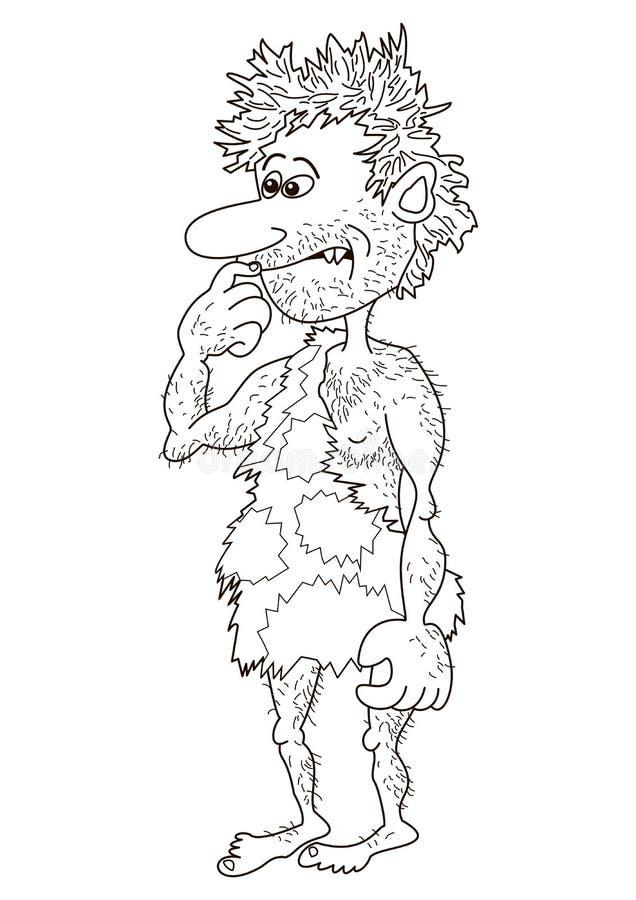 cavemanen contours mannen royaltyfri illustrationer