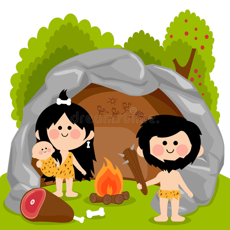 Cavemen family in stone cave. Vector cartoon illustration of a man woman and baby cavemen inside their cave standing next to the fire pit ready to cook the meat stock illustration