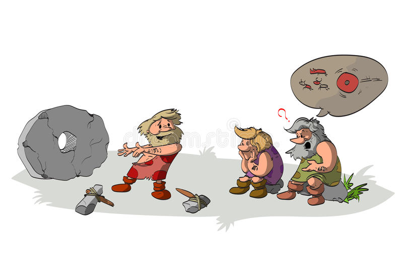 Cavemen inventing the wheel. stock photography