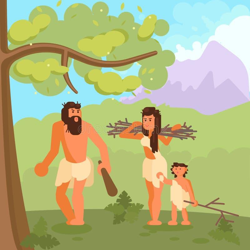 Cavemen zbiera podszytową wektorową ilustrację ilustracja wektor