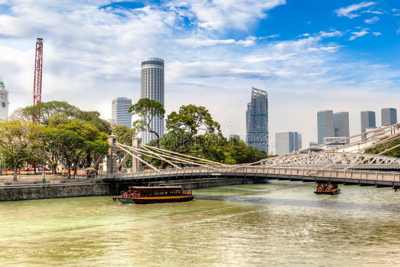 Cavenagh most nad Singapur rzeka zdjęcia stock