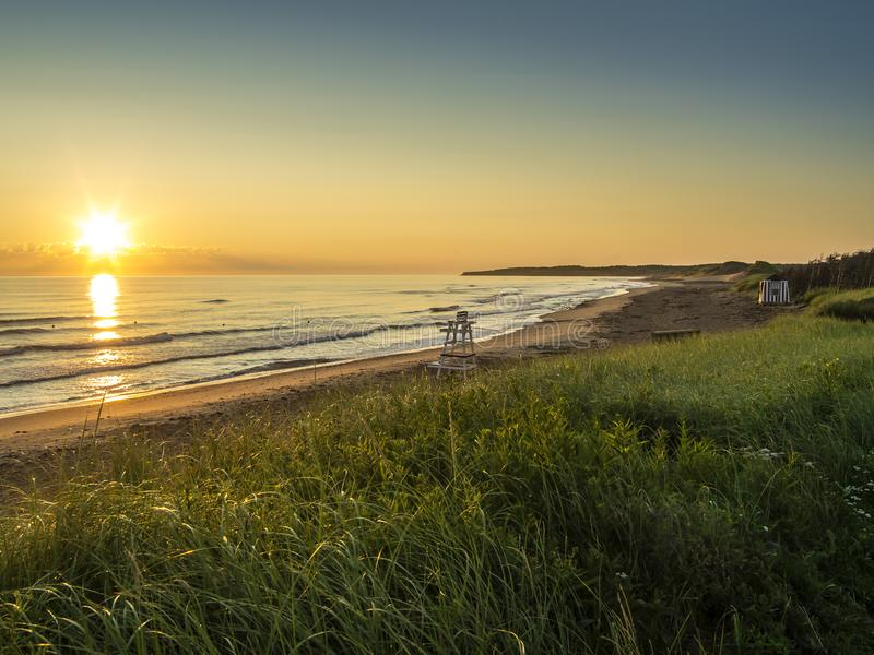 Cavendish beach in Prince Edward Island. Photo of Cavendish beach on the northern coast of Prince Edward Island in Canada royalty free stock images