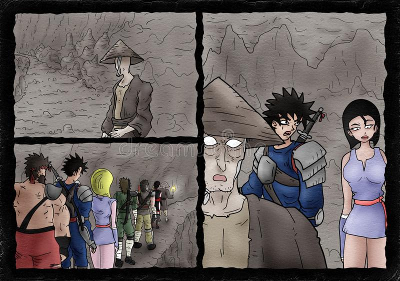 Cavern comic scene page. Creative design of comic scene in cavern vector illustration