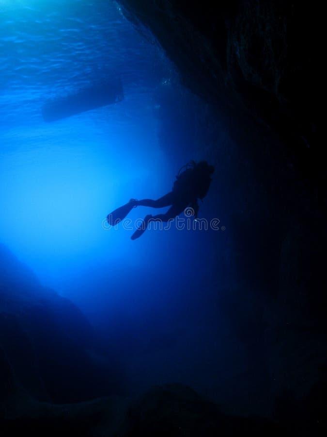 Cavern diver silhouette stock photos