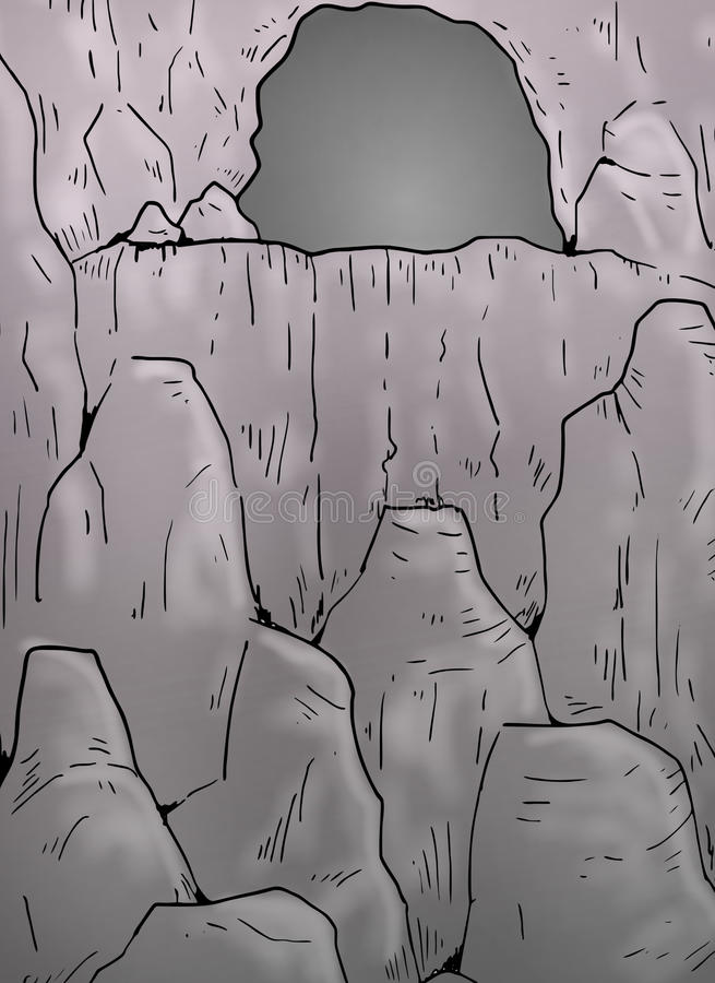 Cavern illustration. Creative draw of old rock cavern stock illustration