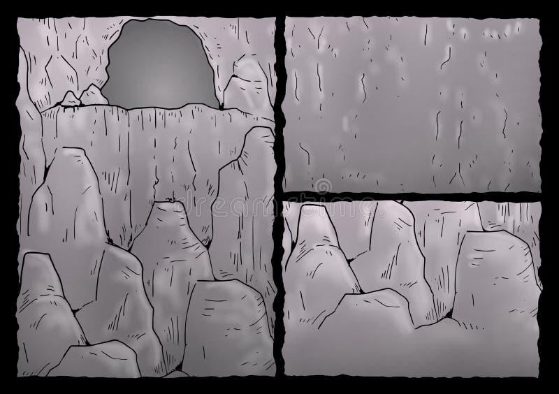 Cavern illustration. Draw of old cavern details royalty free illustration