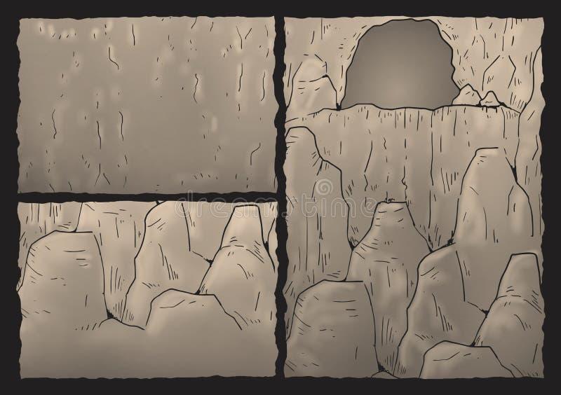 Cavern illustration. Draw of old rock cavern stock illustration