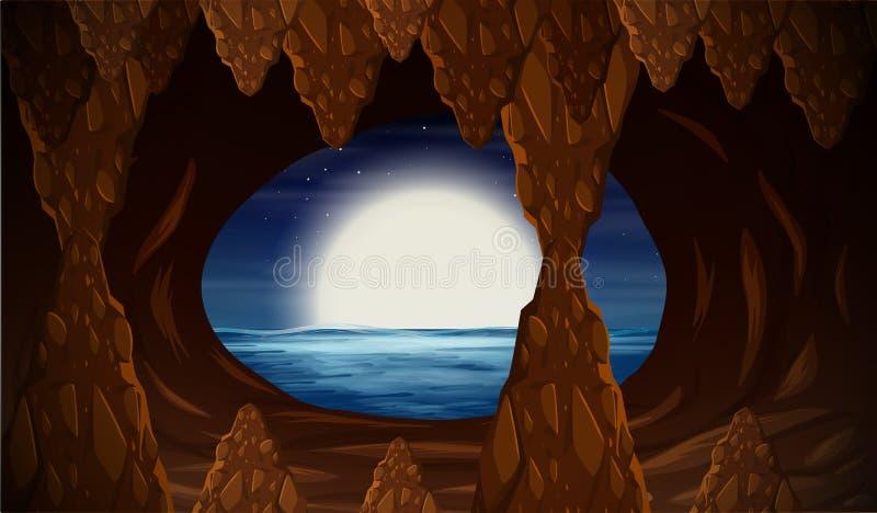 Cavern with ocean entrance. Illustration royalty free illustration