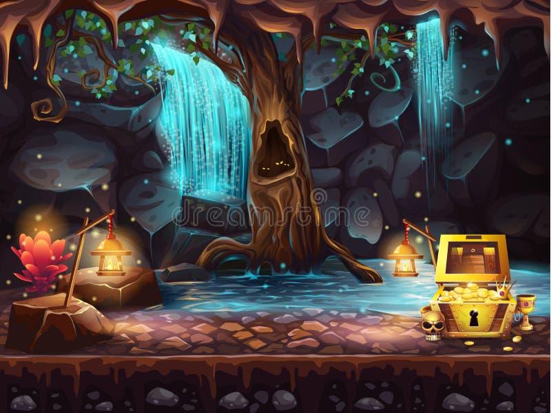 Caverna con una cascata, albero, forziere di fantasia royalty illustrazione gratis