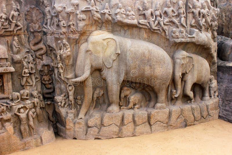 Caverna de Arjuna, mahabalipuram, chennai imagens de stock