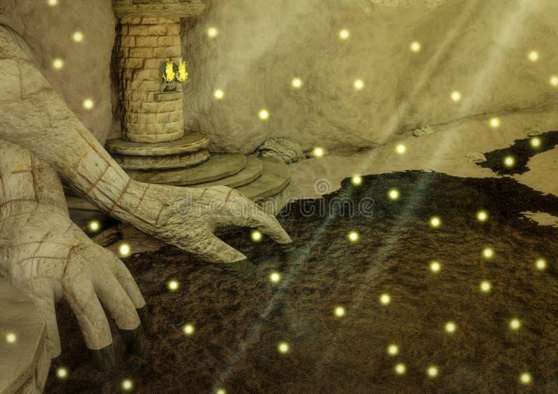 Download Caverna Di Fantasia Con Le Mani Rocciose, Un Lago E Le Torce Illustrazione di Stock - Illustrazione di dorato, mani: 117979659