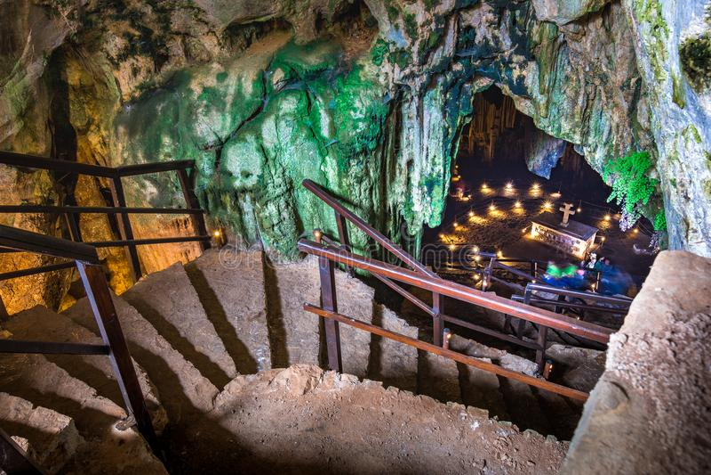 Caverna di Gerontospilios, Melidoni, Creta, immagini stock libere da diritti