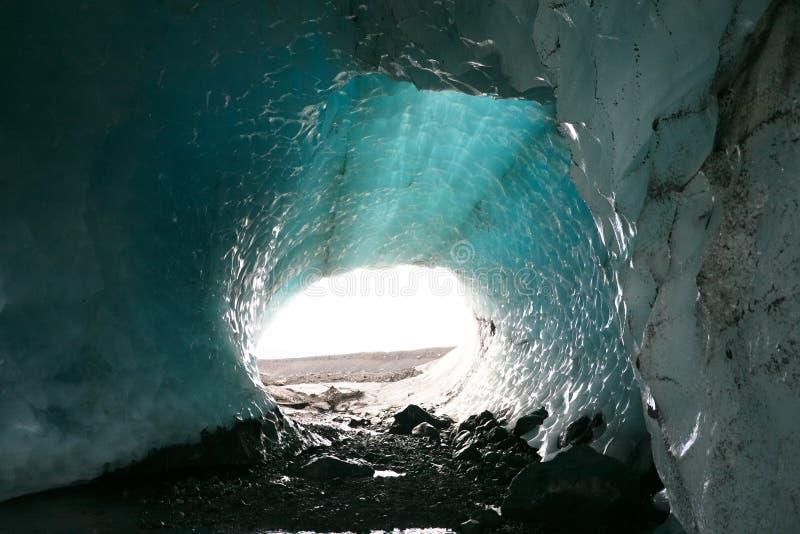 Caverna di ghiaccio del ghiacciaio dell'Islanda fotografia stock