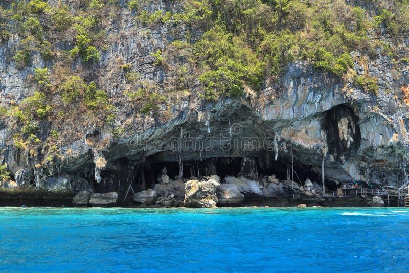 Caverna di Viking in cui i nidi dell'uccello sono raccolti Isola di Phi-Phi Leh immagine stock