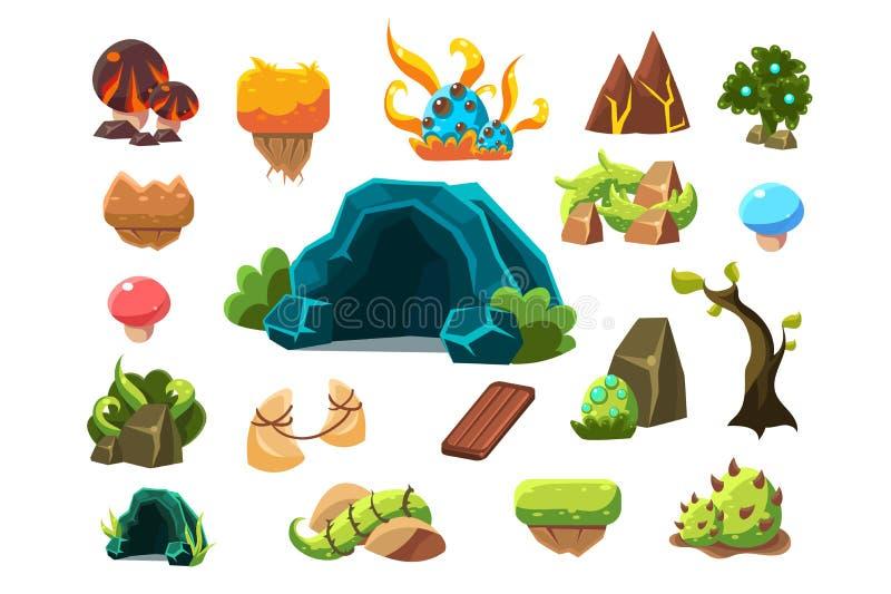 A caverna fabulosa, árvores, plantas, cogumelos, paisagem da fantasia das FO dos elementos do projeto, mundo das pescas à corrica ilustração royalty free