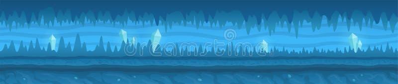 Caverna gelada azul com os cristais brilhantes brancos ilustração stock