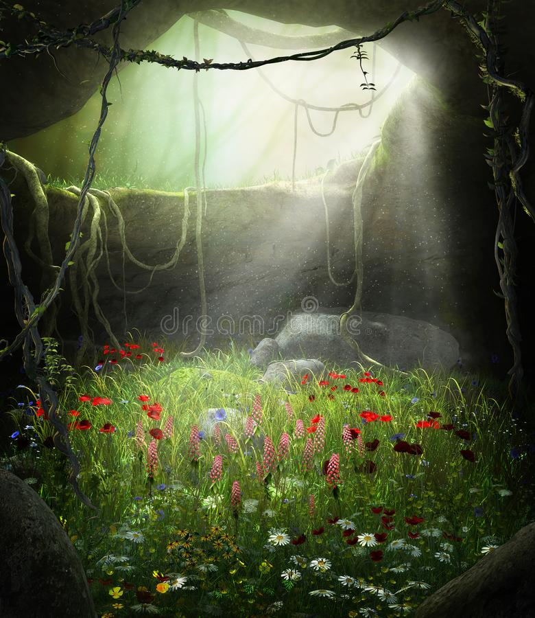 Caverna incantevole del fatato riempita di fiori royalty illustrazione gratis