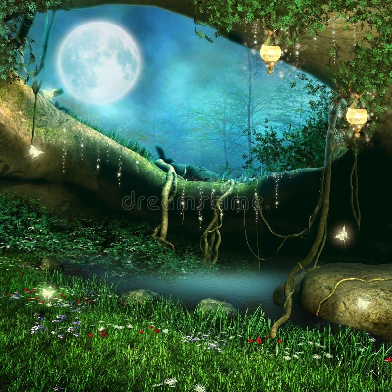 Caverna mágica com lanternas ilustração royalty free