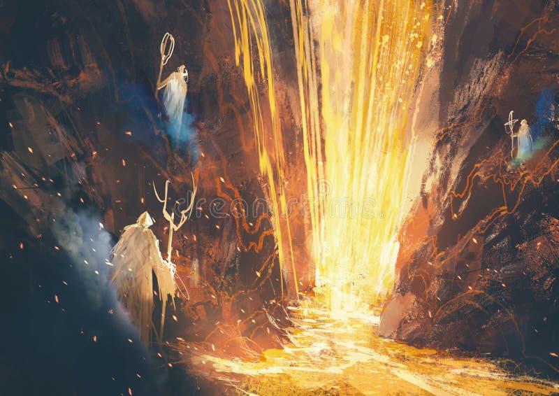 Caverna místico da lava ilustração do vetor