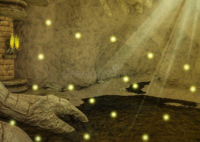 Download Caverna Rocciosa Di Fantasia Con Le Torce Ed I Punti D'ardore Di Luce Illustrazione di Stock - Illustrazione di fantasia, pietra: 117979661