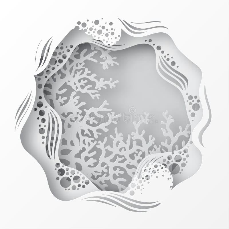 Caverna subaquática de papel do mar com recife de corais ilustração royalty free