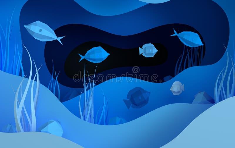 Caverna subaqu?tica de papel do mar com peixes, pedras, fundo do mar nas algas, ondas Estilo profundo 3d do corte de papel para r ilustração royalty free