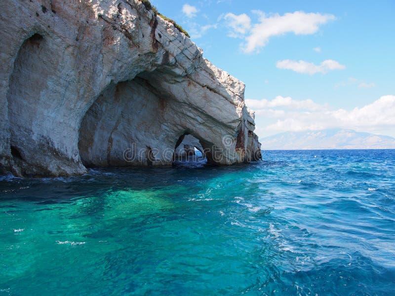 Cavernas azuis, Zakynthos. imagem de stock royalty free
